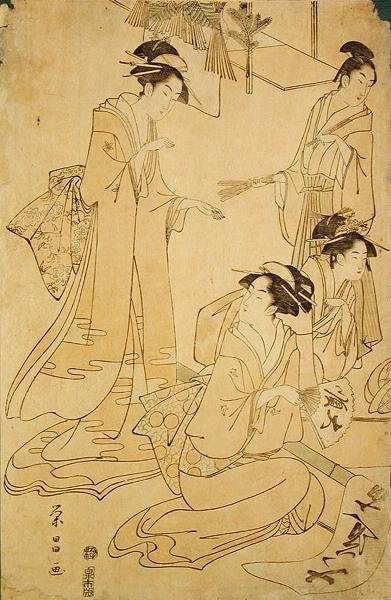 Three Ladies and a Young Man Receiving New Year Visitors by Yeisho - print