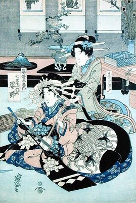 Two Seated Ladies, One Playing the Samisen by Keisai Yeisen - print