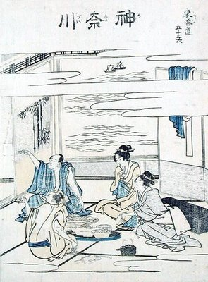 Two Couples in an Interior by Katsushika Hokusai - print