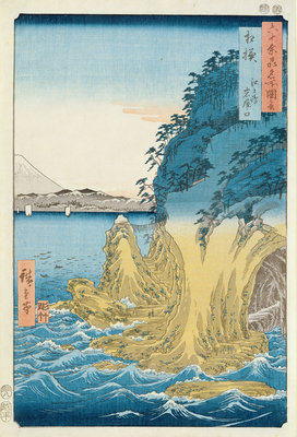 Caves at Enoshima, Sagami Province by Ando or Utagawa Hiroshige - print