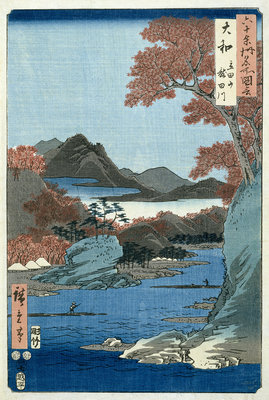 Tatsuta River, Yamato Province by Ando or Utagawa Hiroshige - print