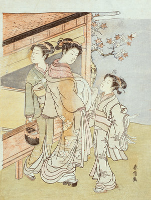 A Lady and Her Attendant Meet a Messenger by Suzuki Harunobu - print