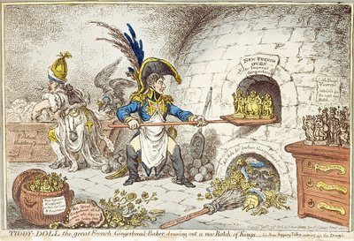 'Tiddy-Doll, the Great French Gingerbread Maker, Drawing Out a New Batch of Kings. His Man, Hopping Talley, Mixing Up the Dough', pub. by Hannah Humphrey, 23rd January 1806 Poster Art Print by James Gillray