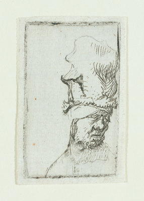 Head of a man in a high cap by Rembrandt Harmensz. van Rijn - print