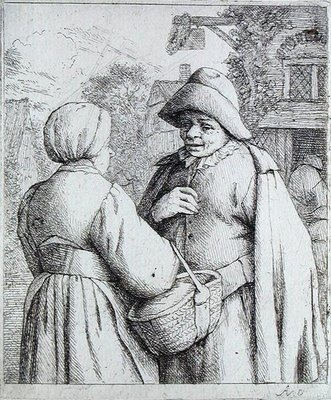 Man and Woman conversing by Adriaen Jansz. van Ostade - print