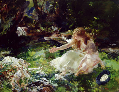 '...and the fairies ran away with their clothes' by Charles Sims - print
