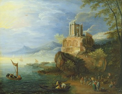 Sea Coast with the Temple of Vesta by Paul Brill or Bril - print