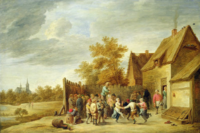 Peasants Dancing Outside an Inn by David the Younger Teniers - print
