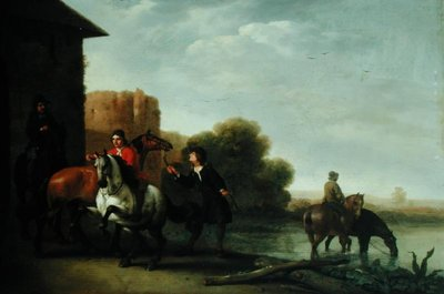 Riders Watering their Horses by Philips Wouwermans or Wouvermans - print