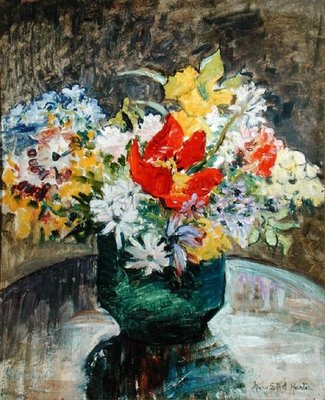 Flowers in a Green Vase by Mary Ethel Hunter - print
