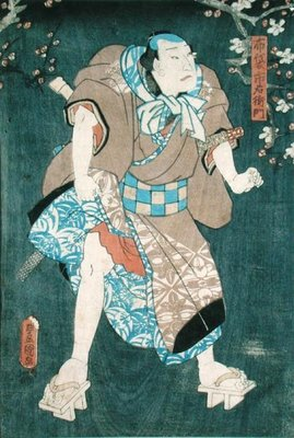 Detail of Character Five from 'Five Characters from a Play by Toyokuni' by Utagawa Kunisada - print