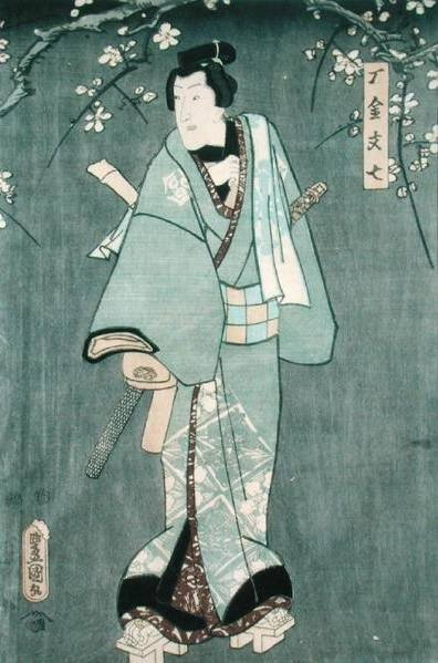 Detail of Character One from 'Five Characters from a Play by Toyokuni' by Utagawa Kunisada - print