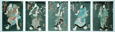 Five characters from a play by Toyokuni by Utagawa Kunisada - print