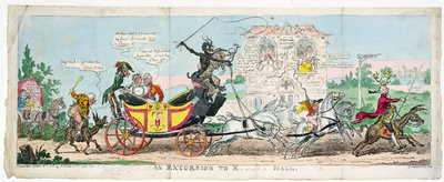 An Excursion into R.... Hall, 1812 by George Cruikshank - print