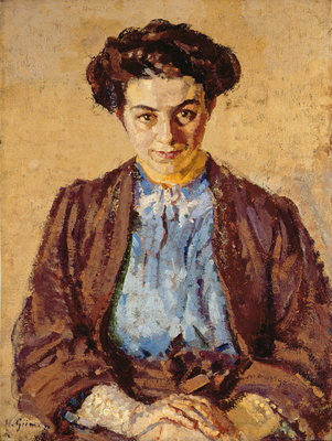 The Blue Blouse, Portrait of Elene Zompolides by Harold Gilman - print
