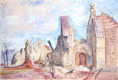 The West Front, Marchelepot Church by Sir William Rothenstein - print