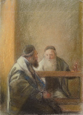 Interior with Two Rabbis by Sir William Rothenstein - print