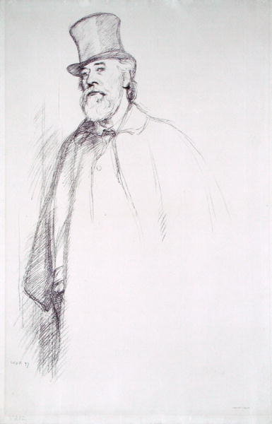 Portrait of Professor Alphonse Legros by Sir William Rothenstein - print