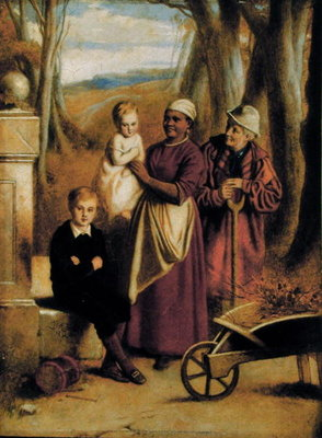 Two Children, Nurse and Old Man by William Mulready - print
