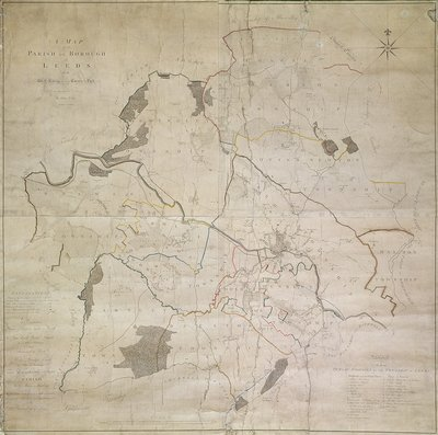 Map of Leeds, surveyed by John Tuke, 1781 by English School - print