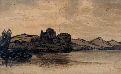 Italian Landscape with Domed Building by Alexander Cozens - print