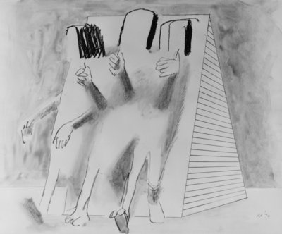 Three Figures in a Setting, 1974 by Kenneth Armitage - print