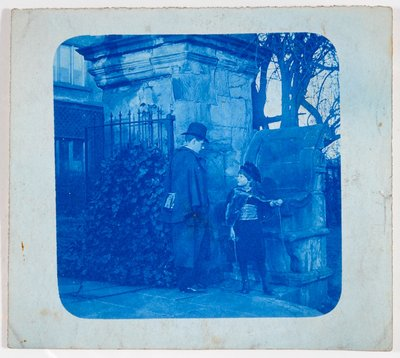 John Atkinson Grimshaw and Elaine Grimshaw at the gates of Knostrop Hall by British Photographer - print