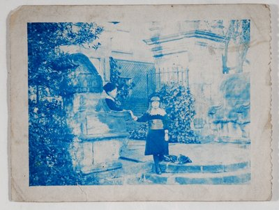 Elaine and Lancelot Grimshaw at the gates of Knostrop Hall by British Photographer - print
