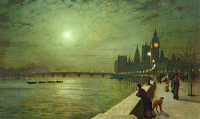 Reflections on the Thames, Westminster, 1880 by John Atkinson Grimshaw - print