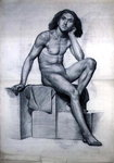 Study of a Nude Model Seated, 1873