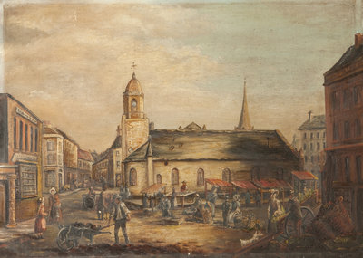 Old St Matthew's Church with Market Stalls Poster Art Print by Anonymous