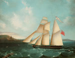 Sailing mail schooner the 'Douglas' entering Douglas harbour Poster Art Print by Dominic Serres