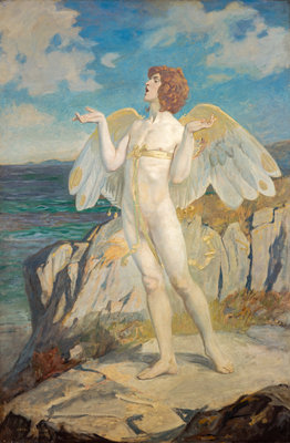 Angus Og, God of Love and Courtesy, Putting a Spell of Summer Calm on the Sea Poster Art Print by John Duncan