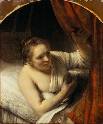 A Woman in Bed Poster Art Print by Rembrandt (Rembrandt van Rijn)