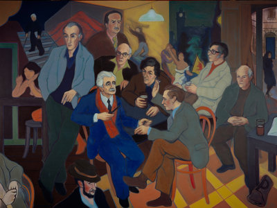 Poets' Pub (Norman MacCaig, Sorley MacLean, Hugh MacDiarmid, Iain Crichton Smith, George Mackay Brown, Sidney Goodsir Smith, Edwin Morgan, Robert Garioch, Alan Bold and John A. Tonge) Poster Art Print by Alexander Sandy Moffat