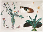Fine Art Print of Cats and Flowers 1980 by Elizabeth Blackadder