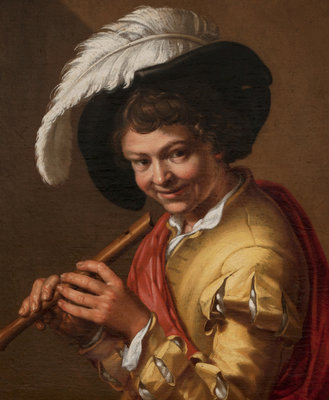 Boy with a flute by Abraham Bloemaert - print