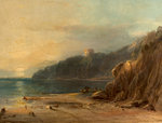 Coast Scene with Castle, 1850 Poster Art Print by Joseph Wright of Derby