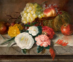Flowers and fruit on a marble ledge, 1830 Poster Art Print by Balthasar Denner