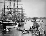 Sailing vessels moored on the River Hooghly at Calcutta by Unknown - print