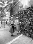 Two female tourists on the Meridian Line, Greenwich by Unknown - print