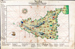 Chart of Sicily, 1554 by Battista Agnese - print