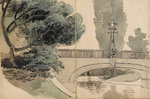 A view of the river and bridge at Merton Place by unknown - print