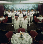 The restaurant staff on the Union-Castle cruise ship 'Windsor Castle' gather for a group photograph by Marine Photo Service - print