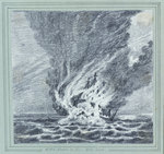 HMS 'Alceste' on fire, Pulo Leat by C. W. Browne - print