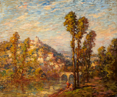 Autumn River Landscape Poster Art Print by French School