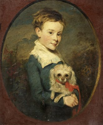 John Franks with Poodle by British School - print