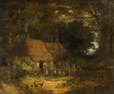 Woodland Scene with Cottage by Anonymous - print