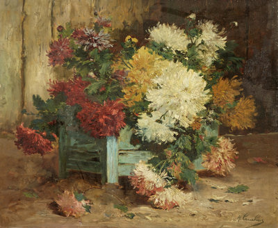 Dahlias in an Urn by Eugene Henri Cauchois - print