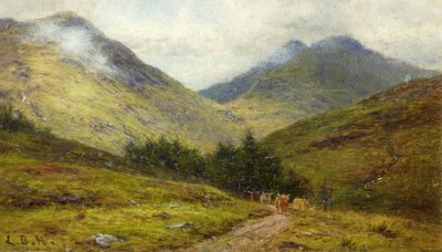 Cattle on a Highland Road by Louis Bosworth Hurt - print